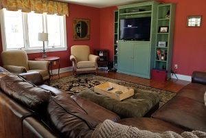 Debut Property Staging LLC Red Walls with Green Media Built In